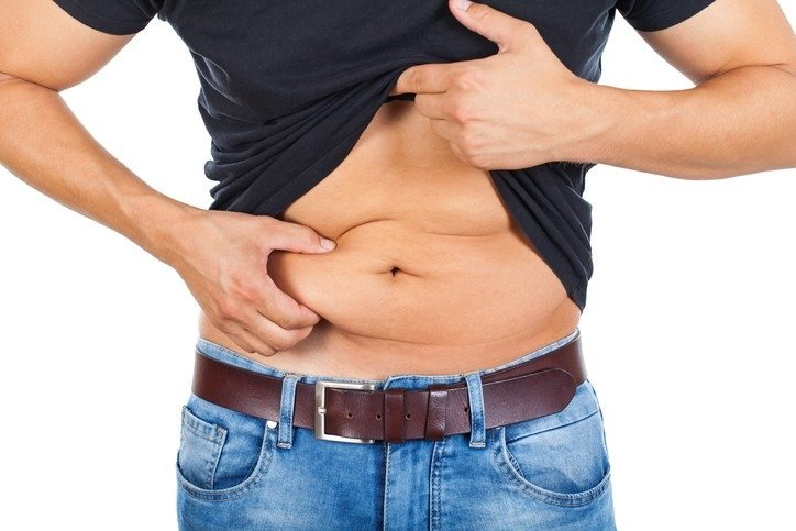 Young man's fatty abdomen